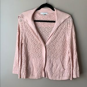 Cabi pink pointelle cardigan sz med # 918